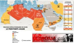 carte printemps arabe